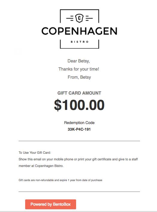 how to redeem digital gift cards bentobox